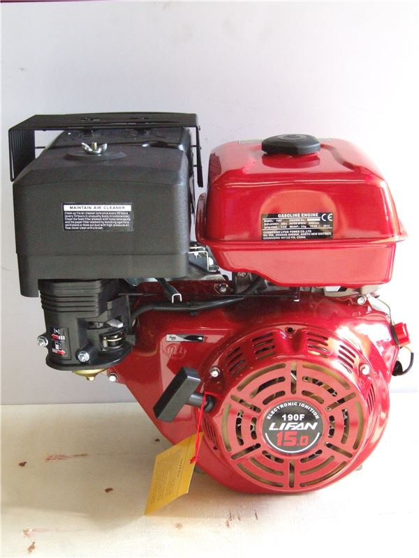 Order a This 15HP Engine is suitable for chippers, shredders and loads of other garden machinery. These engines have fantastic power and have been proven in the UK for 15 years, at 1/3 of the price of a GX Honda! These Lifan 15HP Petrol Engines are also fantastic for Go Karts and many other machines for which a small petrol engine is required.