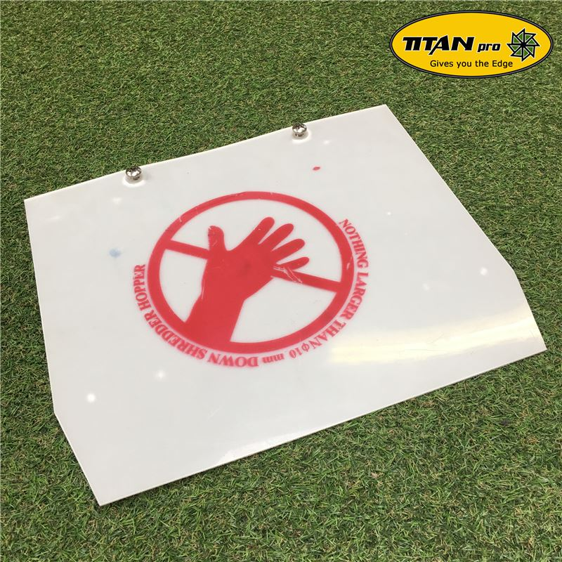 Order a A genuine replacement safety screen for the Titan Pro range of garden petrol chippers. Suitable for the 6.5HP, 7HP, 13HP, 14HP and 15HP models.