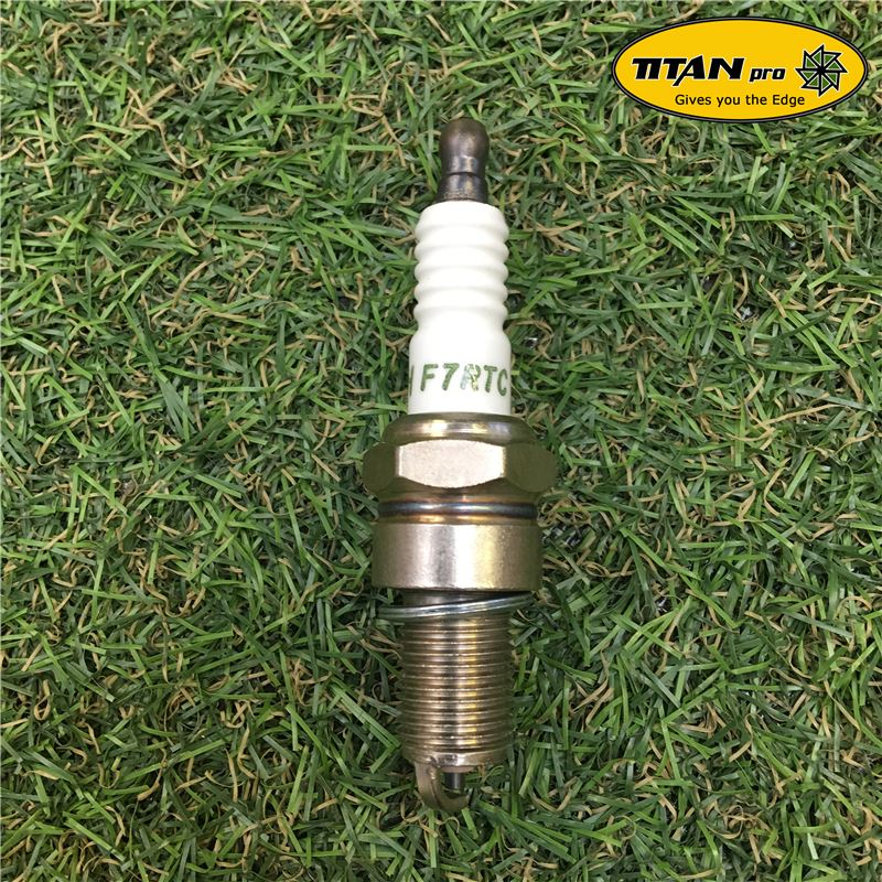 Order a A genuine replacement spark plug, suitable for a range of machines from Titan Pro.