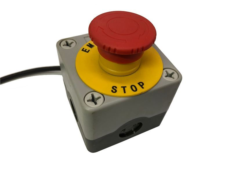 Order a A genuine replacement emergency stop button suitable for the Titan Pro Beaver,TP1200 and TP600 chippers.