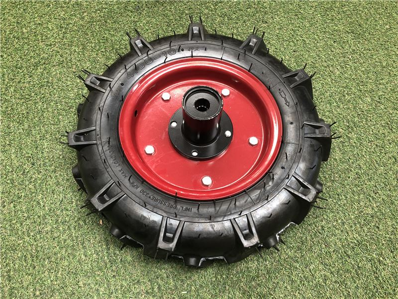 Order a A genuine replacement wheel (complete with tyre and inner tube) for the Titan Pro Warrior two wheel tractor.
