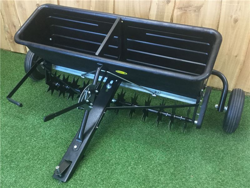 Order a Our aerator/spreader is perfect on the fields - designed for aerating and spreading fertiliser, among a whole host of other materials, in order to promote a healthy lawn.