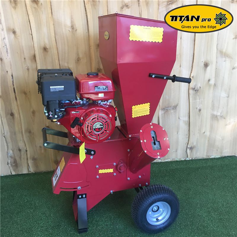 Order a The new design Titan Pro 15HP Petrol Chipper Shredder has award winning design features. This manual Chipper Shredder has a super powerful 15HP OHV engine!