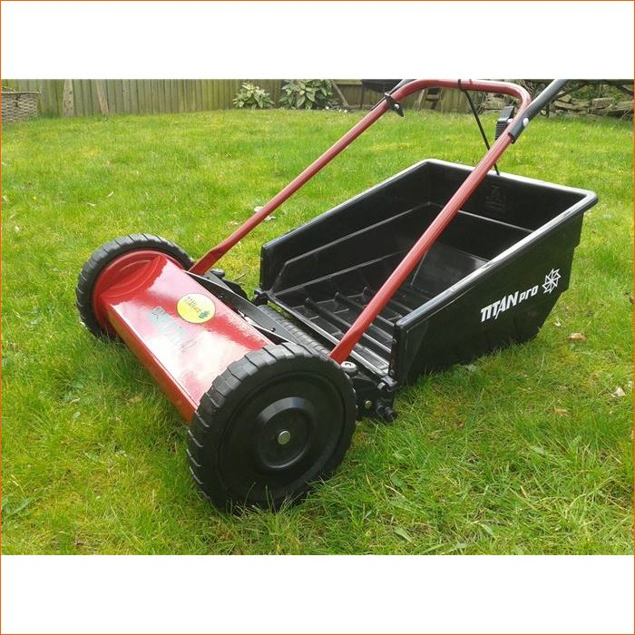 Order a Push Cylinder Lawnmower 42cm cutting width from Titan Pro, great cutting ability and stripping roller feature