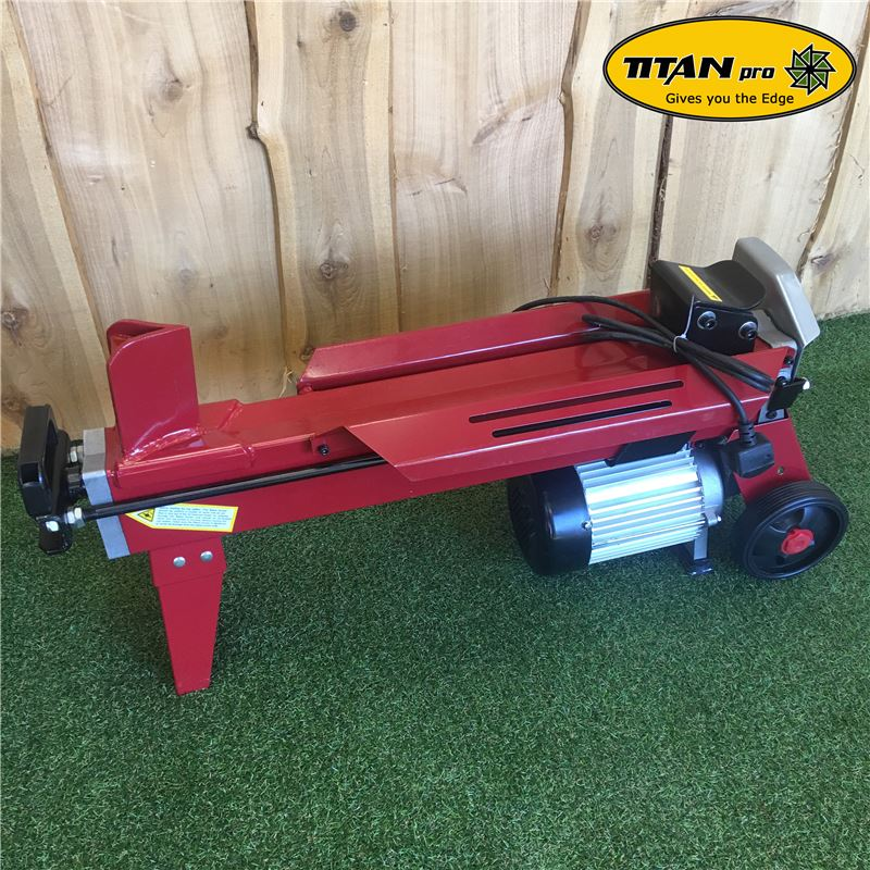 Order a The Titan-Pro 7 Ton Electric Log Splitter is an electrically powered hydraulic unit with a 3 horse power 2200 watt power unit. This wood splitter will effectively chop and split wood with the greatest of ease and is designed for HEAVY DUTY domestic use. The 7 Ton Titan Log Splitters can be ordered with a unique movable stand, which provides adequate working height for the user.