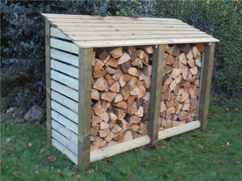 Order a Our large slatted log stores offer a large amount of storage, with a smart design - raised base and lower back panel allow for optimal air-flow, meaning when it comes time to burn it, you will get maximum heat output from your logs; alongside this it also features our slatted design, which offers further increase to the air-flow reaching your wood. The increased storage space also means this store can hold 1.3 cubic metres of logs! Each log store is crafted from fully pressure treated timber, meaning you will get the best of quality, with incredible durability.