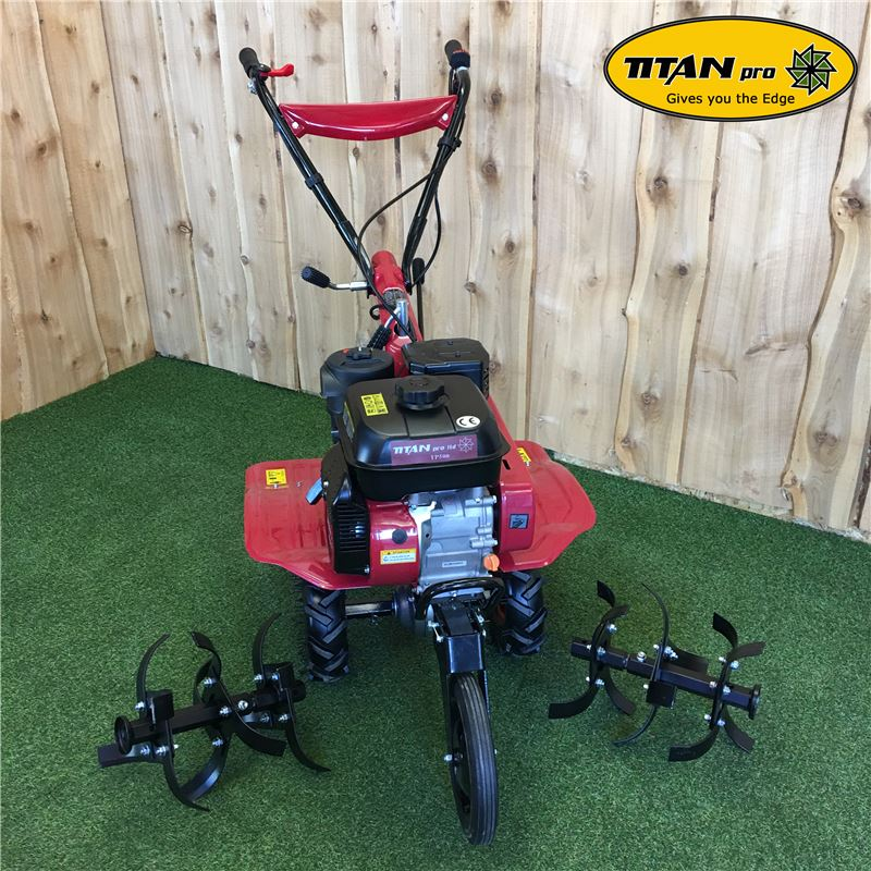Order a The petrol tiller - now with two forward speeds and reverse action. The TP500 petrol rotavator can cope with the most demanding of tasks with ease! Features include an extra-wide tine extension, enabling cultivating from 640mm to 840mm wide. It also comes equipped with a 6.5HP engine for improved performance and efficiency, as well as an easy grip clutch lever.